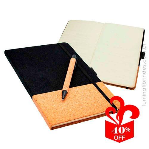 Caderno Executivo Cork com Caneta