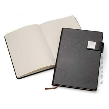 Caderno Notebook com fecho em metal