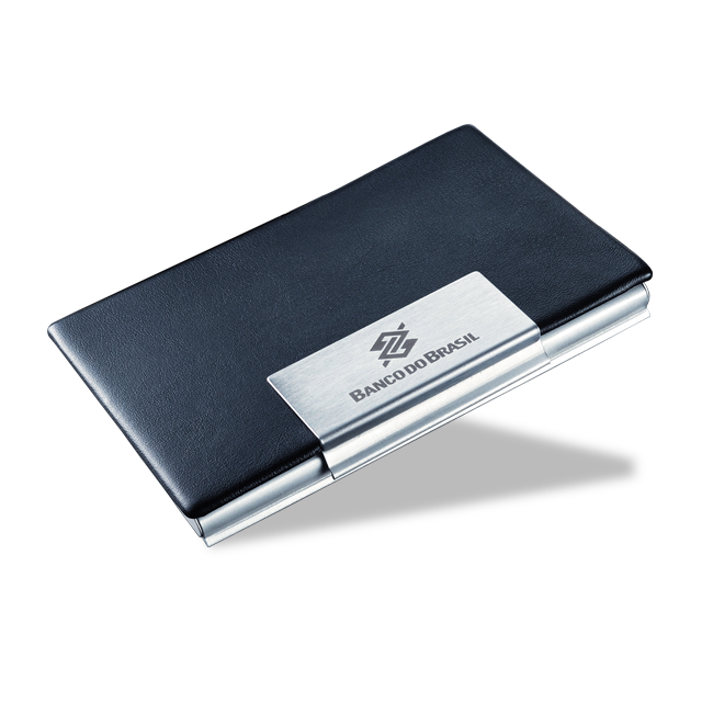 Porta cartão de alumínio e couro